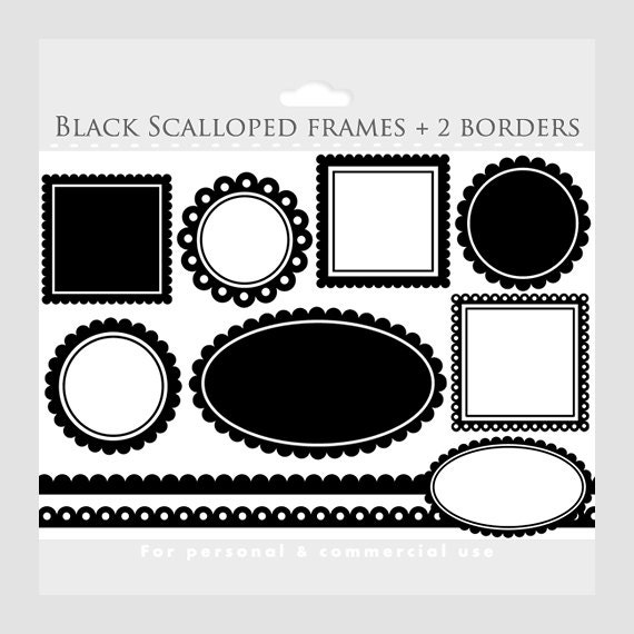 Black scalloped frames clipart square circle oval | Etsy