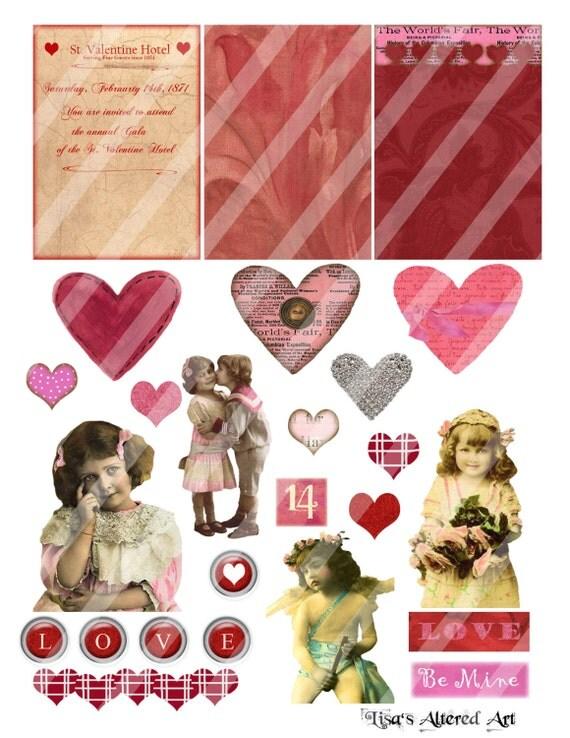 Digital Collage Sheet  Valentine Images (Sheet no. O44) Instant Download