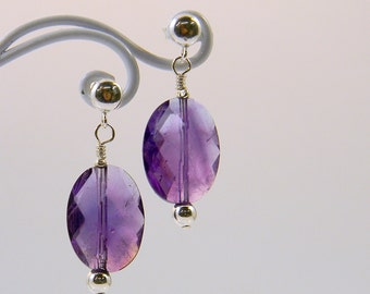 Amethyst Post Earrings - Sterling Silver - February - Birthstone - Anniversary - Gift - Gemstone - Dangle