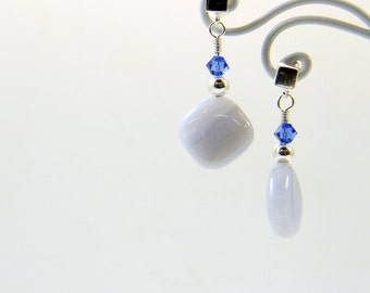 Blue Lace Agate and Crystal Post Dangle Earrings; Gemstone in Sterling Silver Earrings; Anniversary Birthday Gift for her; Workplace Jewelry