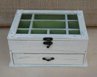 Cream Shabby Chic Home Decor Wooden Jewelry Box