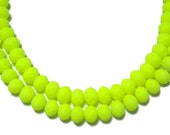 6x8mm Neon Bright Yellow faceted rubberized rondelle beads 30pcs