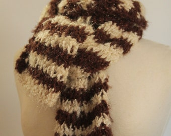 Knit Scarf, Brown and Cream Stripes, Shimmer, Acrylic Yarn, Fall Winter Cold Weather, Adventures in Knitting Reduced Price Item