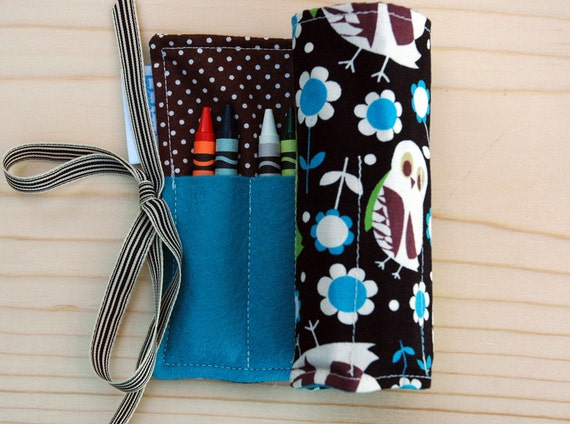 Owls and Flowers in Olympian Blue, French Roast, Cream, and Margarita Crayon Roll