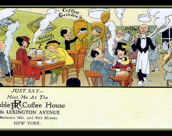 Vintage Ad for Double R Coffee House New York Refrigerator Magnet - FREE US SHIPPING