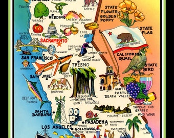 California Pictoral Map Refrigerator Magnet - FREE US SHIPPING