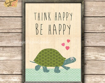 think happy be happy  collage poster print on wooden background with cute turtle