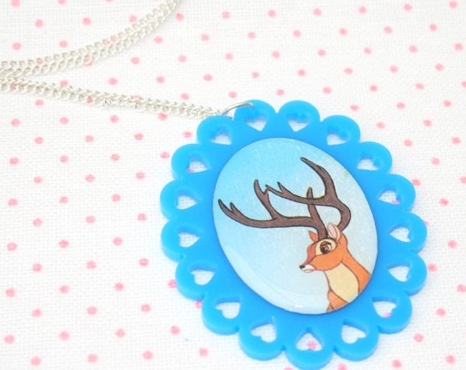 SALE Deer Necklace, Bambi Illustration Necklace OOAK, Woodland, Animal Necklace
