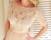 Featured in the Style Me Pretty Fashion & Beauty Magazine 2013 Ballade del Vientre blush pink bridal lace top pink lace blouse bridal bolero
