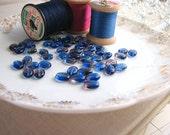 Czech purple blue two-tone oval glass beads (50)