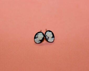 Teeny Tiny Black Victorian Lady Cameo Earrings