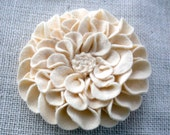 Pale Yellow Felt Dahlia Flower Brooch