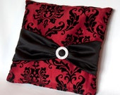 Red & Black Damask Flocked Ring Bearer Pillow