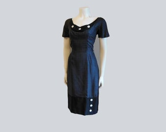 vintage 50s dress /  Cute as a Button / Vintage 1950's Wiggle Dress