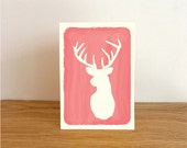 Greeting Card / Deer / Watercolor style / Pink / Thank you - Happy Birthday