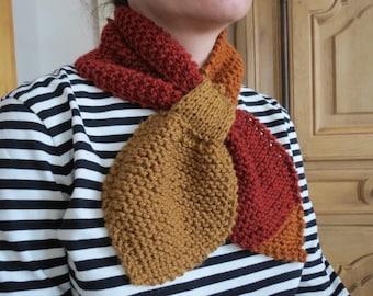 scarf - chunky cowl scarf - women cowl - bowtie scarf - stay-put scarf - scarflette - dance scarf - hand knit by windowsill
