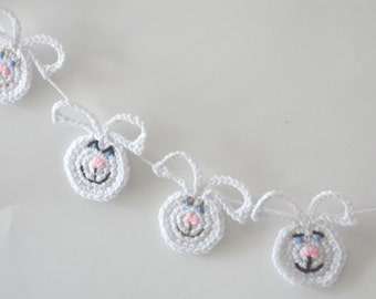 Easter Bunny, Kid's Room Decor,  Crochet Wall Hanging,  Easter Garland, Mantle Banner