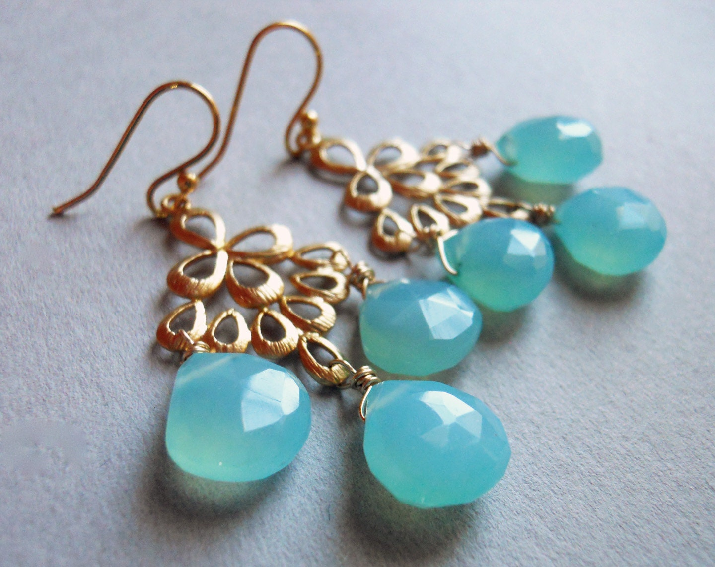 Aqua Chalcedony Matte Gold Chandelier Earrings / Orient Collection - $75.00 USD