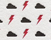 Letterpress Card Lightning Bolts and Clouds in Black and Red