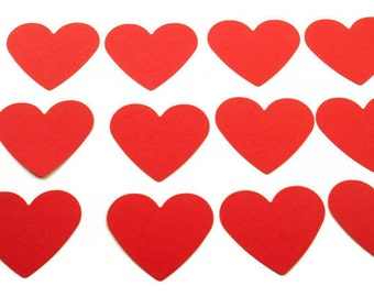 Paper Die Cut Hearts   2  inch  in  Valentine Red Set of 50