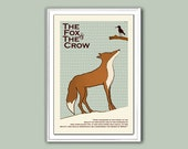 Poster print Aesop The Fox and the Crow 12x18 inches