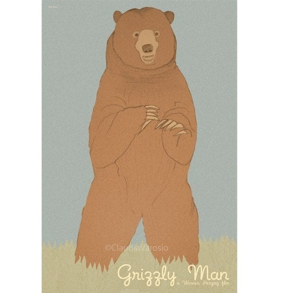 Movie poster retro print Grizzly Man 12x18 inches