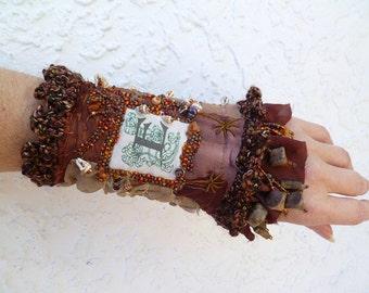 Gypsy tales XII cuff, fiber art gypsy bohemian monogram cuff Coachella, eco friendly up cycled, statement fashion, hand stitched, embroidery