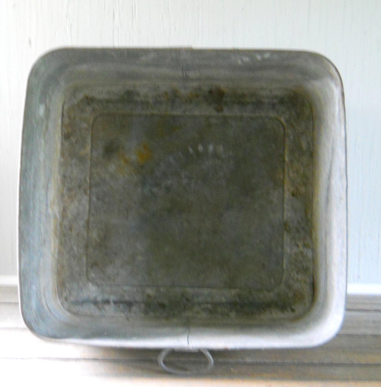 Vintage Galvanized Wash Tub Large Square