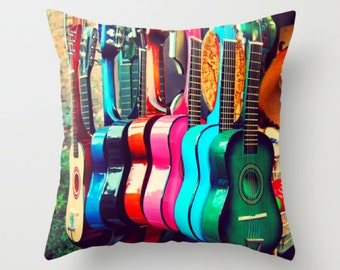 pillow cover, 16x16 decorative throw pillow, spanish guitars, rainbow colors, southwest home decor, Los Angeles, music room