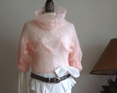 Cotton candy braided shrug, light summer shrug in blush pink,  hand knitted mohair shrug bolero sweater, cropped sweater with cables