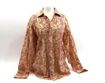 1980s Banana Republic Paisley Shirt Long Sleeved