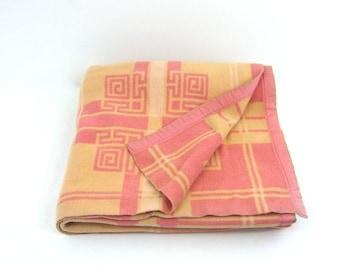 1940s Pink & Orange Reversible Camp Blanket, Large Vintage Bedspread