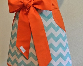 Teal Chevron trimmed in Orange Adult Half Apron with Pockets