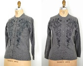 50s beaded sweater / 1950s grey wool beaded button up sweater