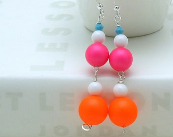 Neon Pink  and  Orange  Beaded  Dangle  Earrings, Modern Geometric Drop Earrings for her Under 50