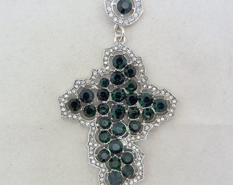 Cross Pendant with Emerald and Clear Rhinestones
