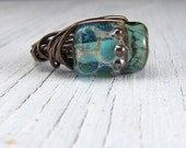 AQUA LAMPWORK RING, Wire Wrapped Murano Glass, size 6