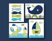 Blue and green Kids wall art kids room decor baby nursery art boat bathroom fish nautical ocean whale Set of four prints