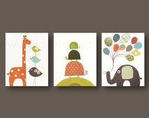 Baby boy nursery Art Giraffe Nursery Decor elephant nursery turtle Balloon children's art Kids wall art orange green brown - Set of 3 prints