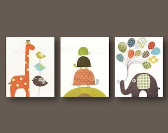 Baby boy nursery Giraffe elephant turtle - Balloon children art - Kids art orange green brown - Set of three prints