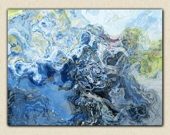 "Large abstract wall art, 30x40 to 40x54 giclee canvas print with gallery wrap, from abstract painting ""Liquid Assets"""