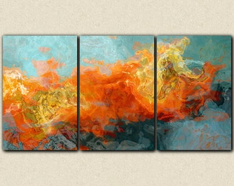 "Abstract art, 40x78 oversized triptych gallery wrap giclee canvas print, in orange and blue, from abstract painting ""Electric Illusion"""