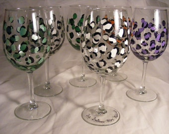 personalized bridesmaid or bachelorette wine glasses in leopard print - also birthdays or girls night in