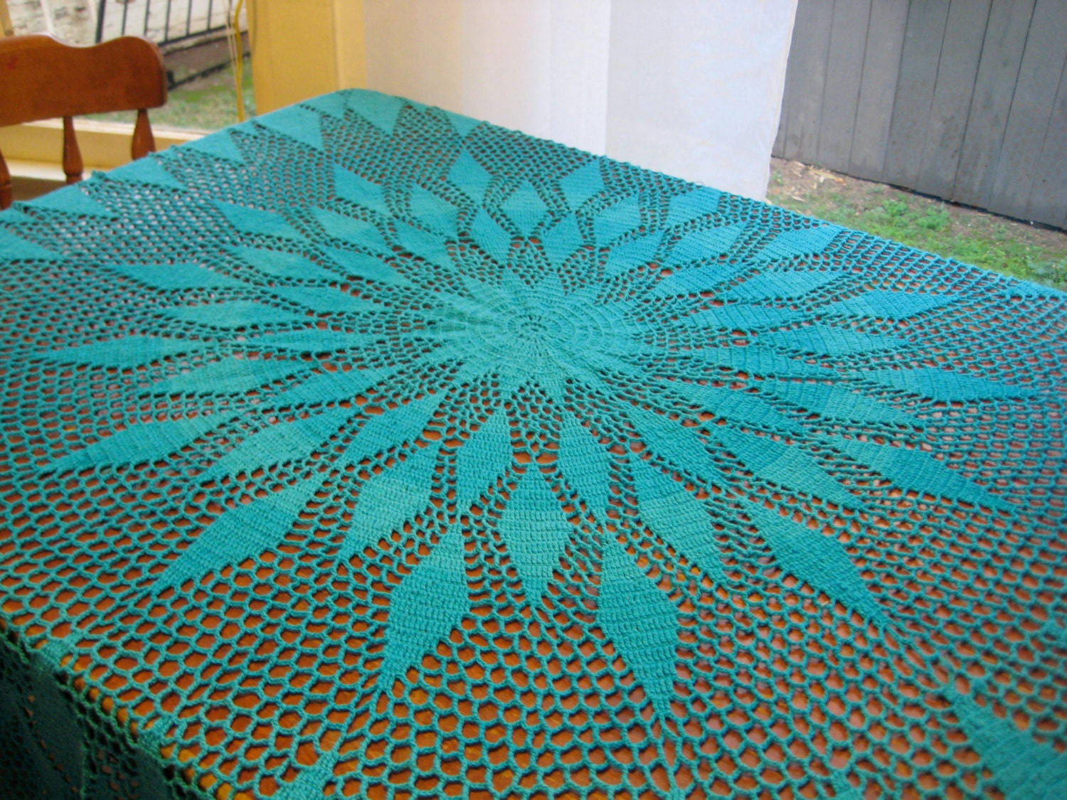 Sale Turquoise Crochet Mod Mandala Tablecloth