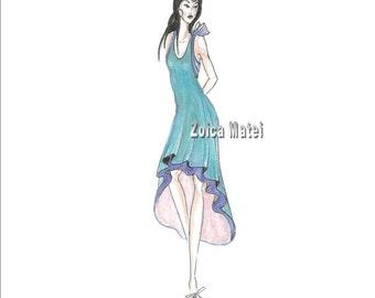 The Teal Dress Fashion Illustration- Girl in Teal Fashion Wall Art- Girls Room Decor- Bedroom Art