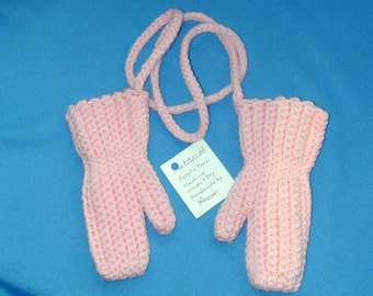 Warm Pink  Crochet Mittens with cord Fits 1-2 year old