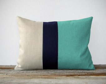 Mint Colorblock Decorative Pillow Cover with Navy and Natural Linen Stripes by JillianReneDecor, Modern Decor, Color Block, Aqua Turquoise
