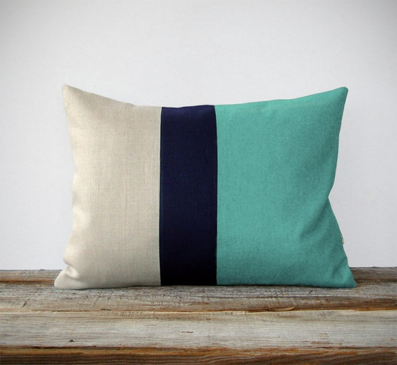 Mint Colorblock Decorative Pillow Cover with Navy and Natural