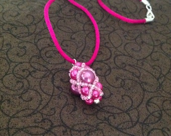Hot Pink Beaded Bead - Pendant