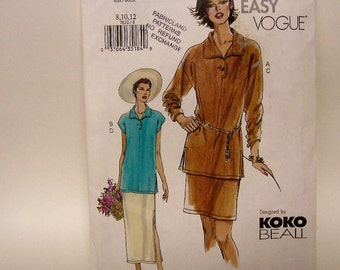 Vogue 7612 Sewing Pattern Tunic Top Skirt Slimming KOKO BEALL Design Very EASY Loose Fitting Size 8 10 12 Uncut